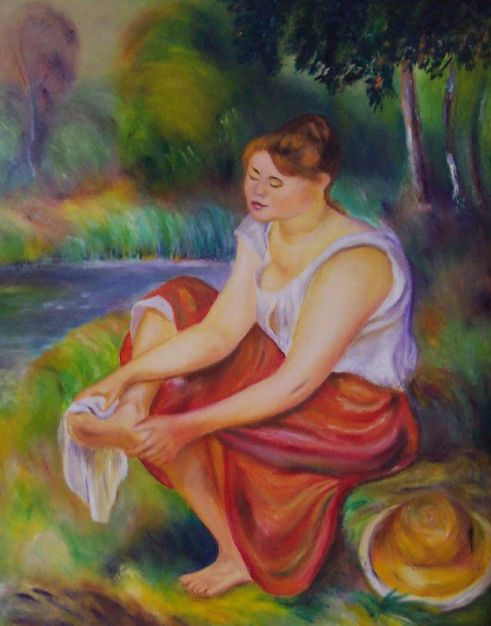 A Girl Wiping Her Feet